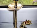 48-Sfesnic din metal- crom cu cerb, inaltime 19 cm.