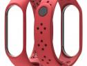 Curea Bratara Silicon Fitness Xiaomi Mi Band 3/4 Grid RED