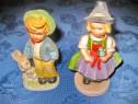 634a-2 Statuiete vechi Copii ceramica Fetita-Baiat- iepuras.