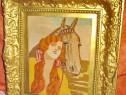848-Goblen vechi- Femeie cu cal si rama aurie.