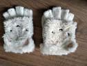 Manusi impletite albe cu ursulet 3-5 ani 98 104 110 cm