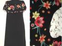 Rochie noua, din vascoza, cu broderii florale si ciucurasi