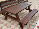 Set masa cu banci lemn masiv
