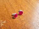 Cercei mici handmade cu rasina si floricele roz