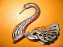 7093-Lebada-Statuieta mica cu aripi alonjabile alama cromata