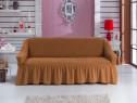 Husa canapea 3 locuri din bumbac elasticizat culoare Mustar