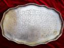Tava mare arabeasca Platou alama cupru placat argint 42x62cm