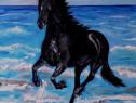 "Tabloul "" Calul, Black beauty si marea"", pictura ulei,panza"