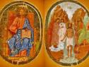 B748-Icoana panza veche anii 1900 Iisus Hristos-Botezul Ioan