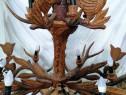 Lustra candelabru din coarne de cerb, sculptata deosebit!