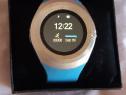 Ceas smartwatch cu SIM, SD card, albastru, auriu