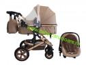 Cărucior nou născut 3 in 1+geantă+Baby Care 530DarkCapuccino