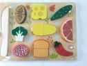 Puzzle lemn,legume,invata sa tai legume