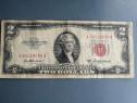 Bancnotă 2 dolari 1952 A, serie și stampila roșie