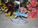 Marturii nunta/botez metalice corabie botosi lingurite