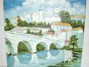 5491-Tablou Peisaj Oras spaclu cu multe case, pod de piatra