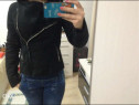 Jacheta cojoc zara negru,imblanit,superb, xs,nou