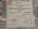 1000 lei Aur 1913 Titlu la purtator cu cupoane neincasate