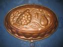 Cucta ovala prajituri fructe veche anii 1900 cupru-arama.
