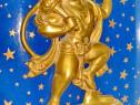 9224-Statuieta stativ veche Zeu Oriental bronz masiv aurit.