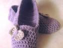 Papuci de casa cu fundita crosetati manual masura 38