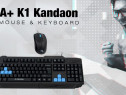 Kit Gaming Tastatura A+ K1 Kandaon+Mouse F1 Black Noua L229
