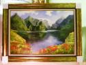 Tablou pictat manual pe panza in ulei , Peisaj in natura A-4