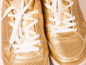 Pantofi Aurii piele ecologica gen Oxford