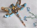 Brosa libelula 3D Swarovski, brosa insecta, accesorii femei