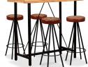 Mobilier bar 5 piese, lemn sheesham, piele 275132