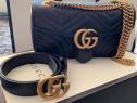 Set Gucci (curea+Geanta)accesorii metalice aurii,Italia