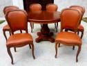 Masa ext pentru 6 sau 8 persoane și 6 scaune din lemn masiv