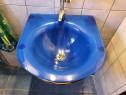 Lavoar baie sticla albastru