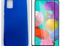 Samsung A51 A71 Husa Silicon Colorata si Folie Sticla Curbat