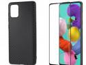 Samsung A51 A71 Husa Silicon KEVLAR si Folie Sticla Curbata
