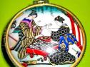 9409-Caseta mica vintage bijuterii portelan femei Japonia.