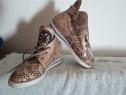 Pantofi sport gheta aurii mas.36 piele cu perforatii