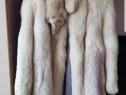 Haina DAMA blana naturala de vulpe argintie
