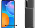 Huawei Nova 5T P SMART 2021 - Husa Carbon + Folie Sticla