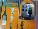 Cablu magnetic de telefon cu 3 mufe magnetice