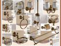 Accesorii baie bronz antic, suporti din alama si portelan