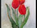 Lalele rosii pictate in ulei pe carton inramat