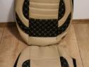 Huse scaune imitație piele crem cu negru si cusatura alba