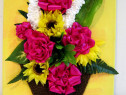 Tablou handmade - flori panglica