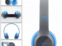 Casti wireless MRG P47 Albastru cu bluetooth microfon C259
