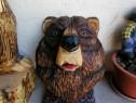 Trofeu-sculptura din lemn cu Drujba cap de urs