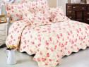 Cuvertura de pat matlasata din bumbac brodat+fete perna ES01