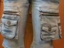Blugi / pantaloni scurti 2 in 1 , cu buzunare