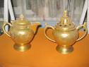 6441-Set deosebit Ceai cu Zararnita vechi bronz gravat auriu