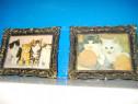 4805-Foto mici cu Pisici cu rame din plastic antichizate.